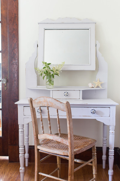 Dressing Table is given a whole new Gustavian look with Fusion Mineral Paint's Tones for Tots, zero VOC paint!