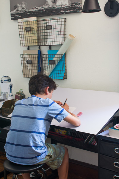 This amazing desk turns into a drafting table.