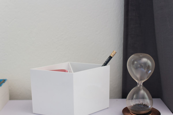 Modern Organizer and simple desk styling.