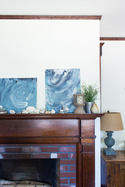 Abstract art is easy to make and adds a relaxed vibe to the living room for summer.