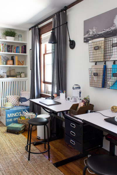 Vintage Modern Desks - Creating a beautiful and functional workspace in a shared bedroom. www.findingsilverpennies.com