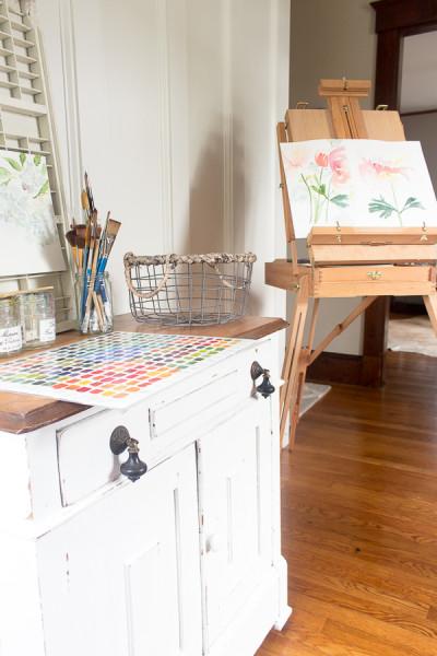Art studio and easel