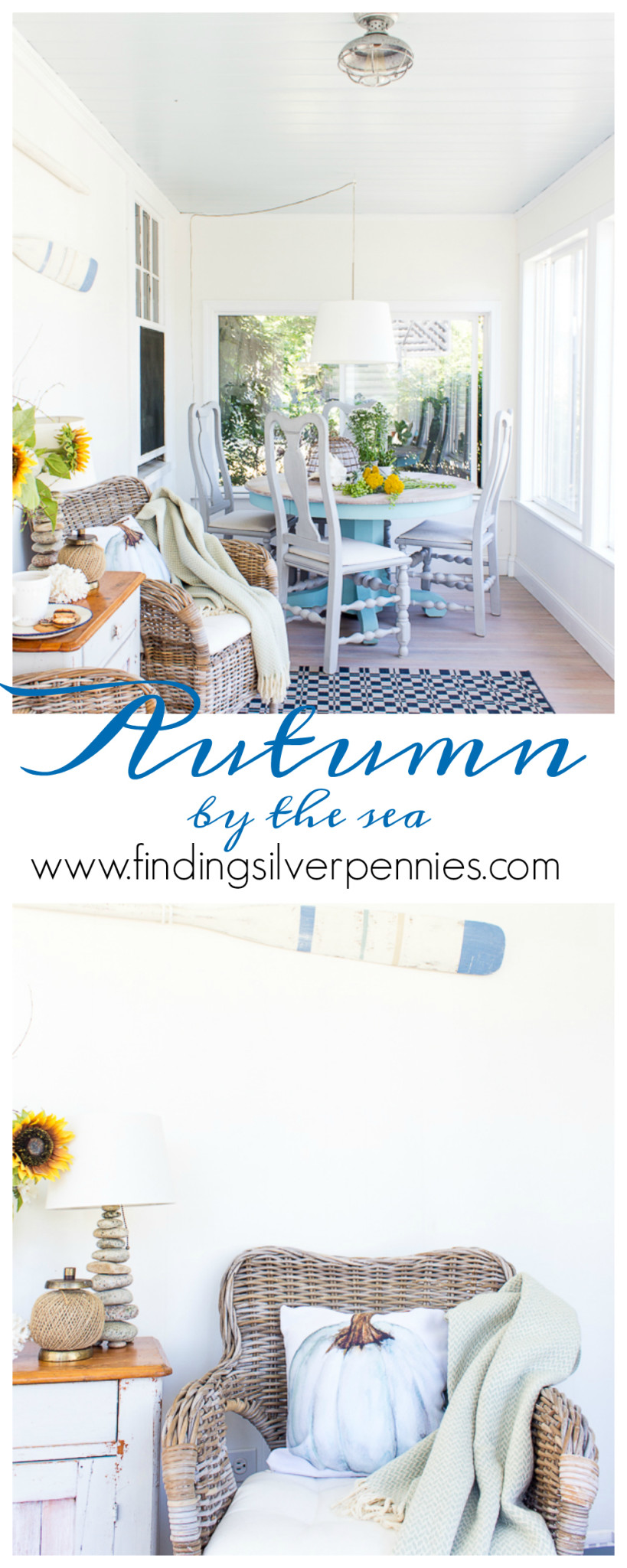 Fall in our Sunroom / easy and affordable tips for decorating by the sea! www.findingsilverpennies.com