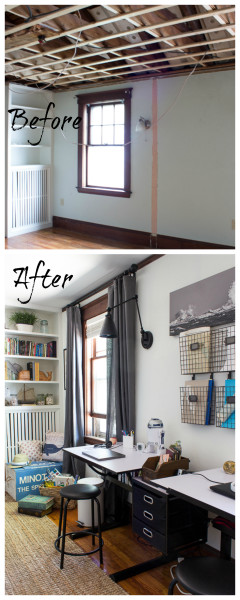Before and After Kids Homework Area/ www.findingsilverpennies.com
