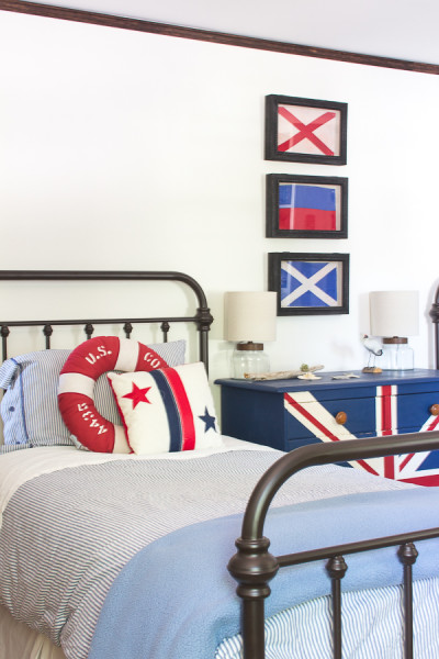 Coastal Industrial Boys Bedroom www.findingsilverpennies.com