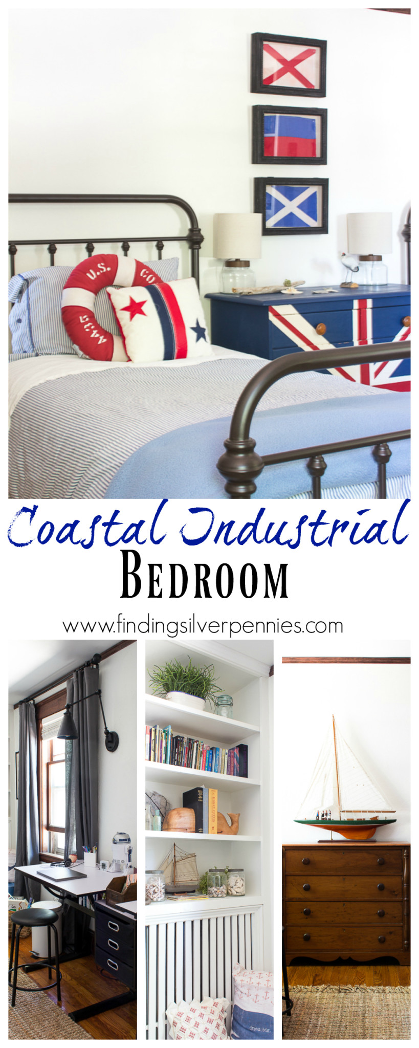 Coastal Industrial Bedroom by Finding Silver Pennies
