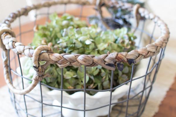 Hydrangeas, ironstone and a wire basket / www.findingsilverpennies.com
