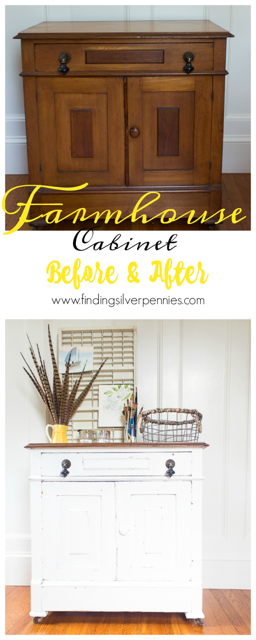 Farmhouse Cabinet Before and After by Finding Silver Pennies and how to get a naturally distressed look.
