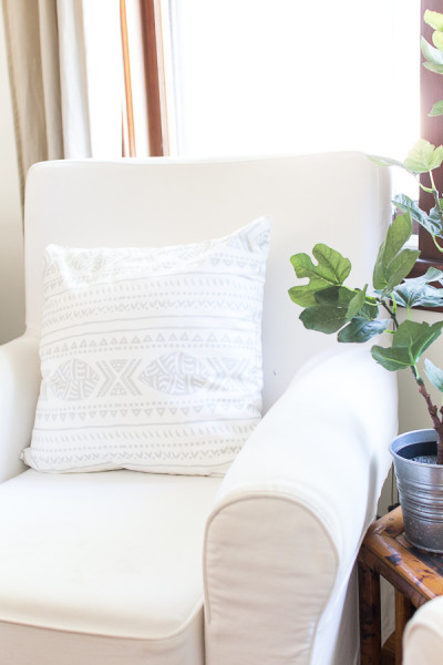Fall in our Living Room / Ikea Chair and Minted Pillow / www.findingsilverpennies.com