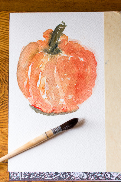 A pretty pumpkin watercolor by Finding Silver Pennies