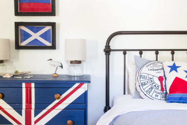 Boys Coastal Industrial Bedroom with hand painted union flag dresser in chalk paint by Finding Silver Pennies
