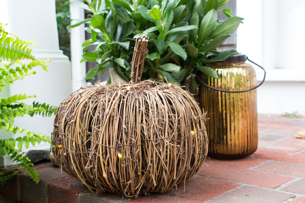 Wicker Pumpkins with Twinkling Fairy Lights