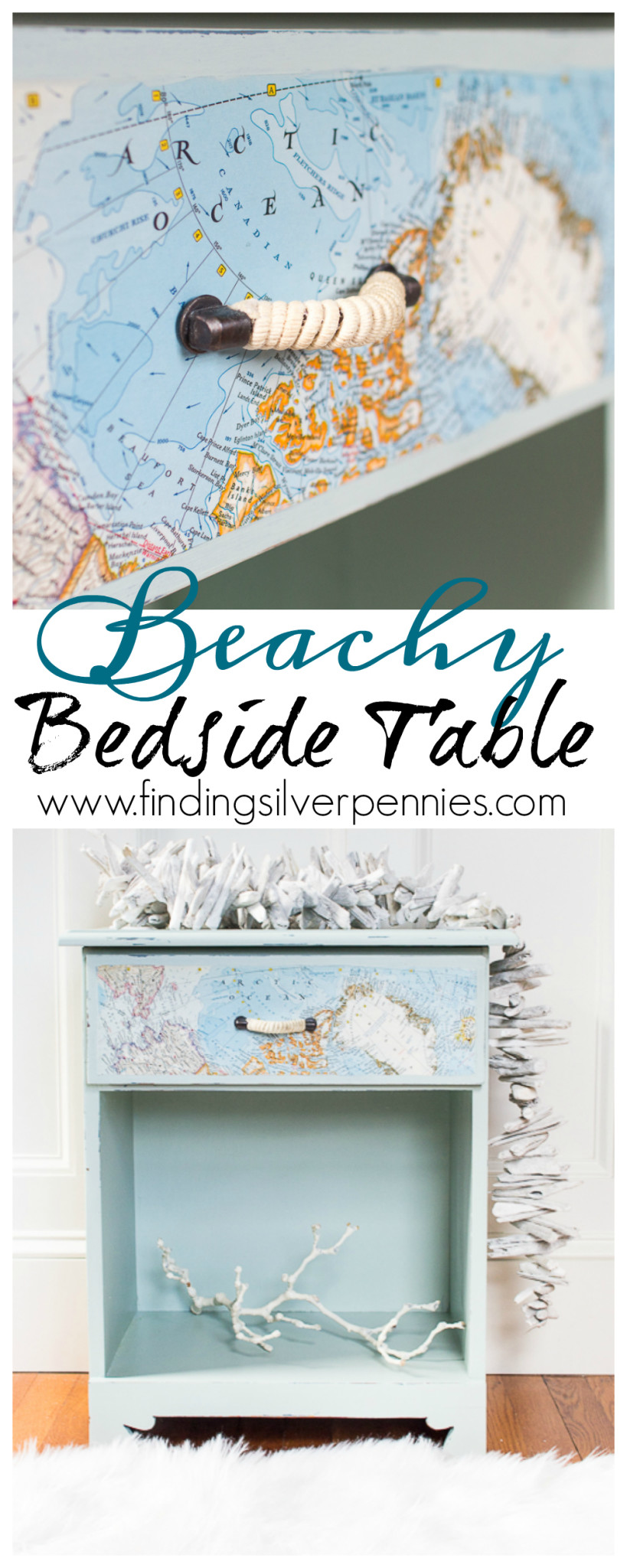 A Beachy Bedside Table Makeover by Finding Silver Pennies