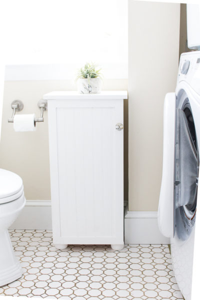 how to build a beadboard bathroom cabinet by finding silver pennies