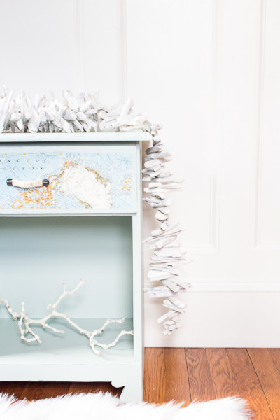 Beachy Bedside Table with Driftwood Garland