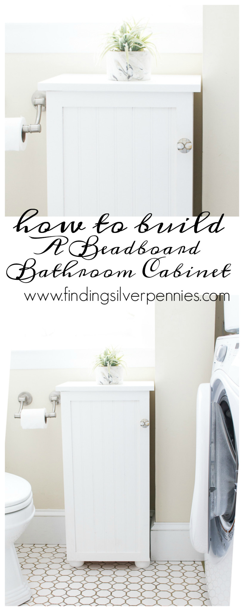 How to Build a Beadboard Bathroom Cabinet by Finding Silver Pennies.