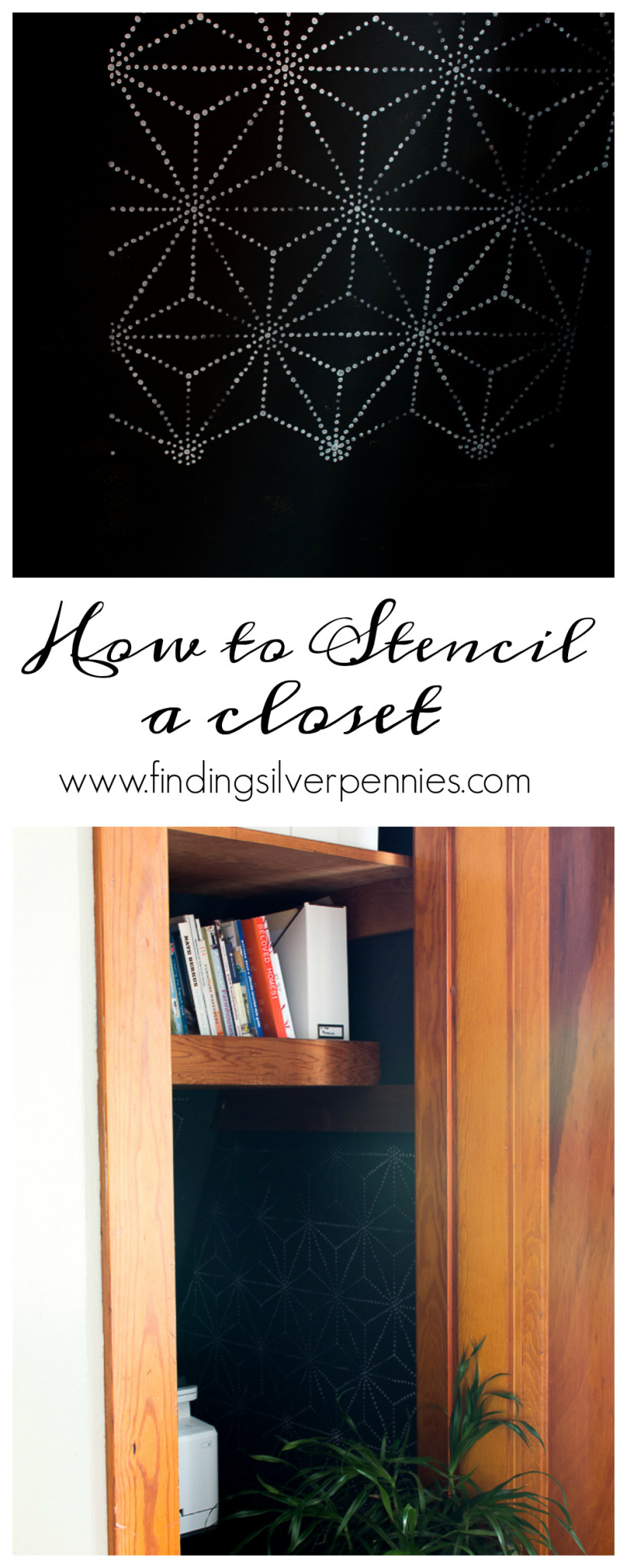 How to stencil a closet by Finding Silver Pennies