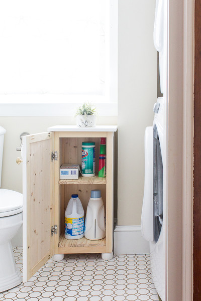 Simple storage for the bathroom and laundry room - How to Build a Beadboard Bathroom Cabinet by Finding Silver Pennies.