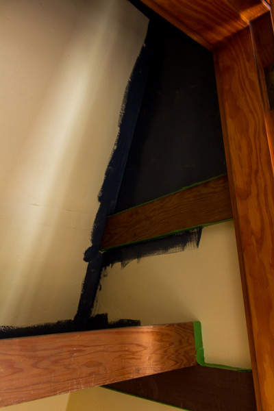 Painting our closet with graphite chalk paint.
