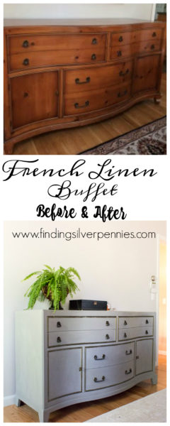 French Linen Buffet Before and After by Finding Silver Pennies