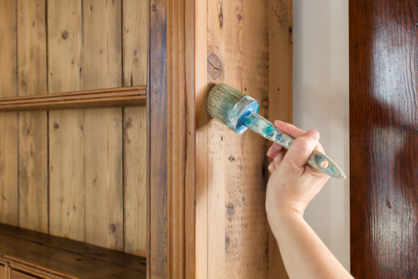 Applying Hemp Oil with a Brush to Old Wood