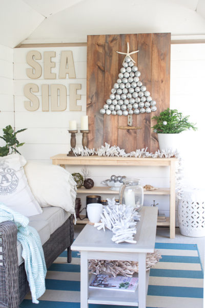 Winter in a Coastal She Shed I #dihworkshop for a Holiday Ornament Display