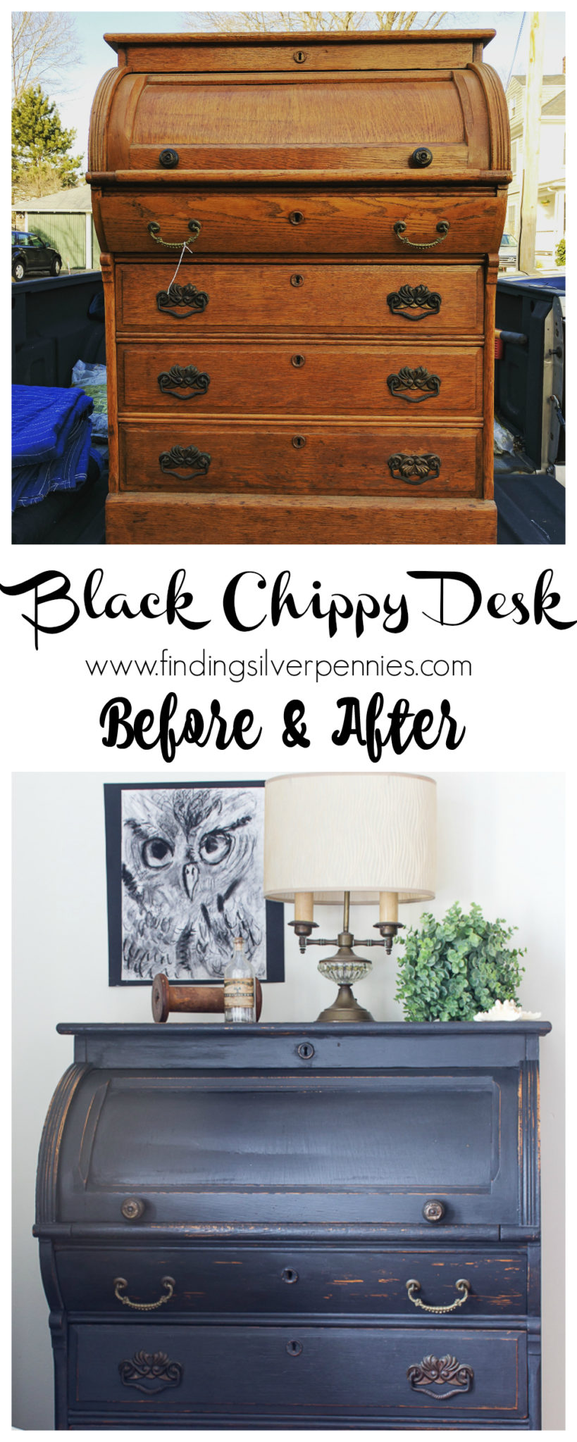 A Black Chippy Roll Top Desk Before And Afteri Finding Silver Pennies