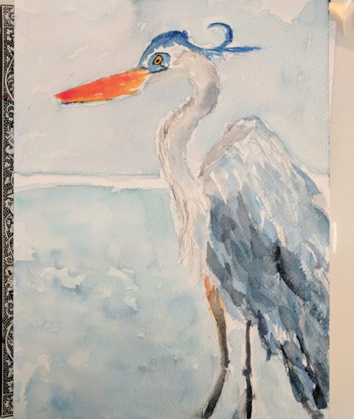 Blue Heron Watercolor I Finding Silver Pennies