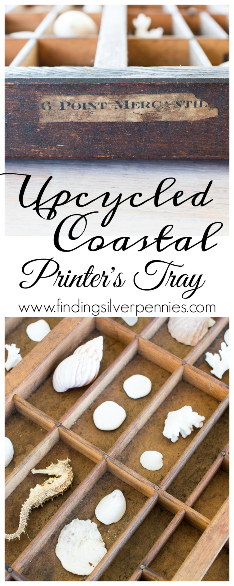 How to Create an Upcycled Coastal Printers Tray I Finding Silver Pennies