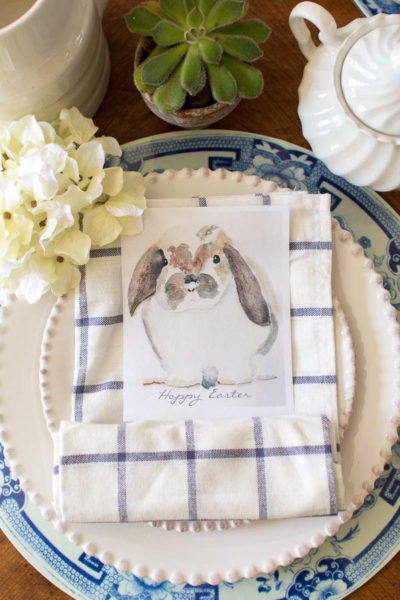 Spring Table Setting & Watercolor Bunny I Free Printable I Finding Silver Pennies