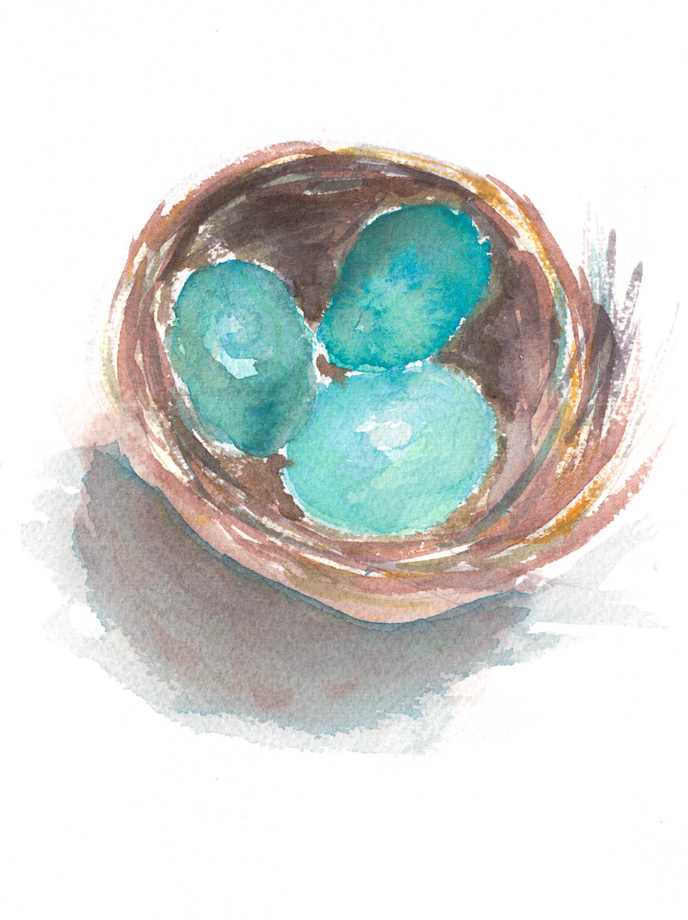 nest watercolor  spring free printable