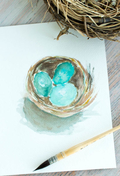 Nest Watercolor I Free Printable for Spring by Finding Silver Pennies