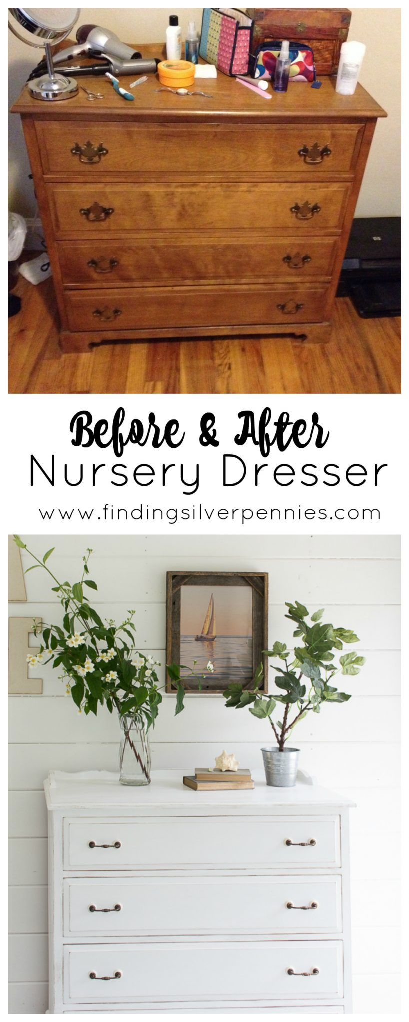 Before & After - Nursery Dresser - Upcycling with Chalk Paint I Finding Silver Pennies