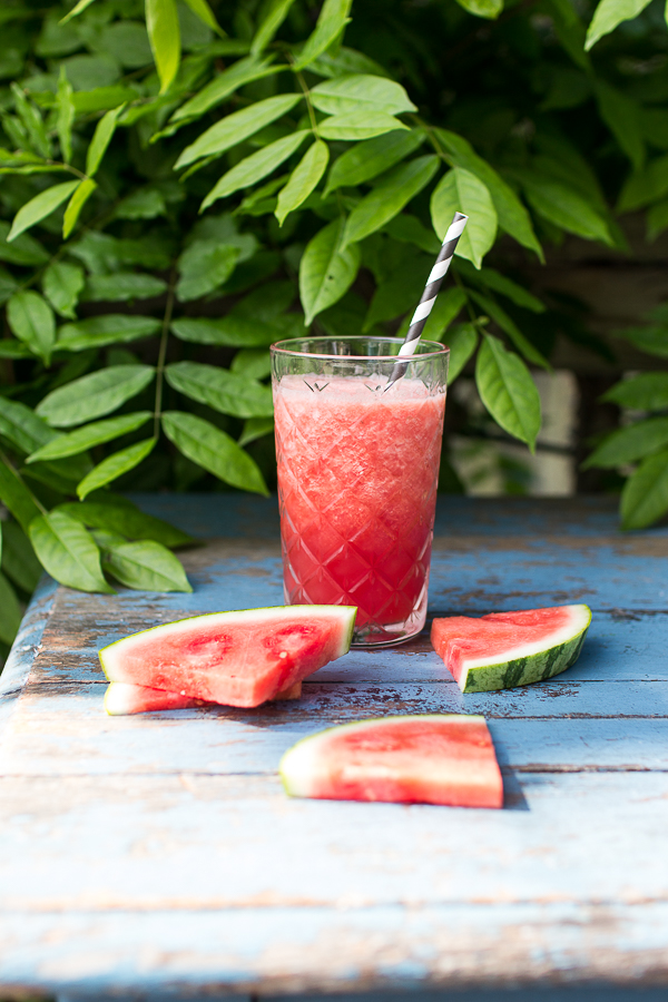 Delicious watermelon smoothies in cut glasses from Ikea