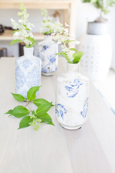 Fresh from the garden flowers look so sweet in blue and white vases
