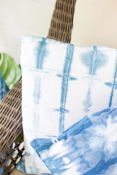 Blue and white shibori