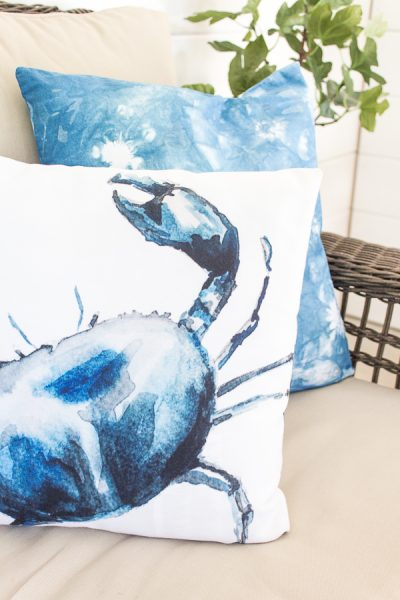 Lovely watercolor crab pillow by Lucy at Craftberry Bush