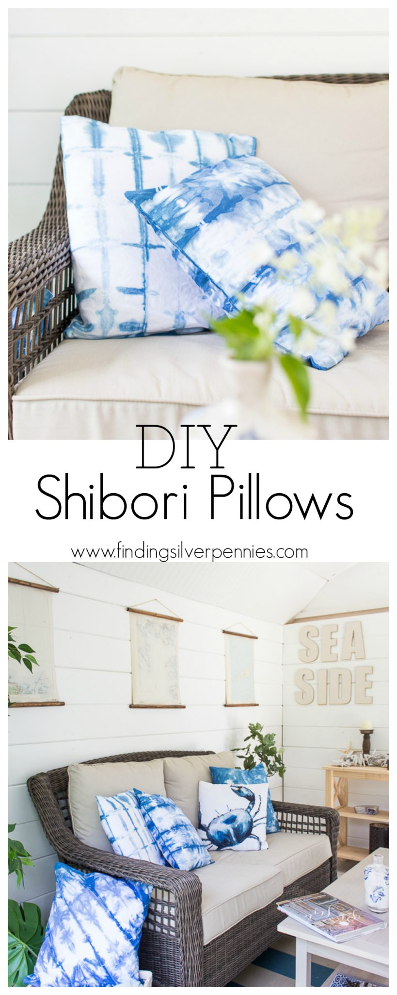 DIY Shibori Pillows - how to get this look easily for your own home.