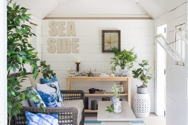 Summertime in the She Shed with DIY shibori and shiplap walls
