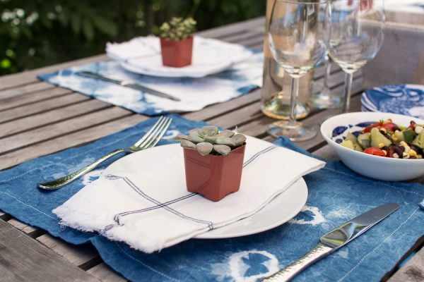 Succulent and Shibori Tablescape I Finding Silver Pennies