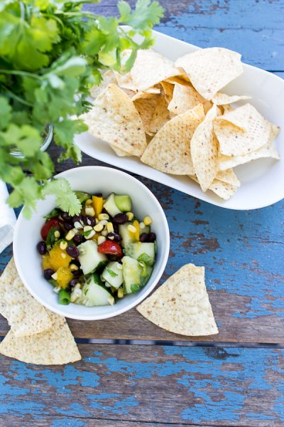 No cook corn summer salad for easy entertaining