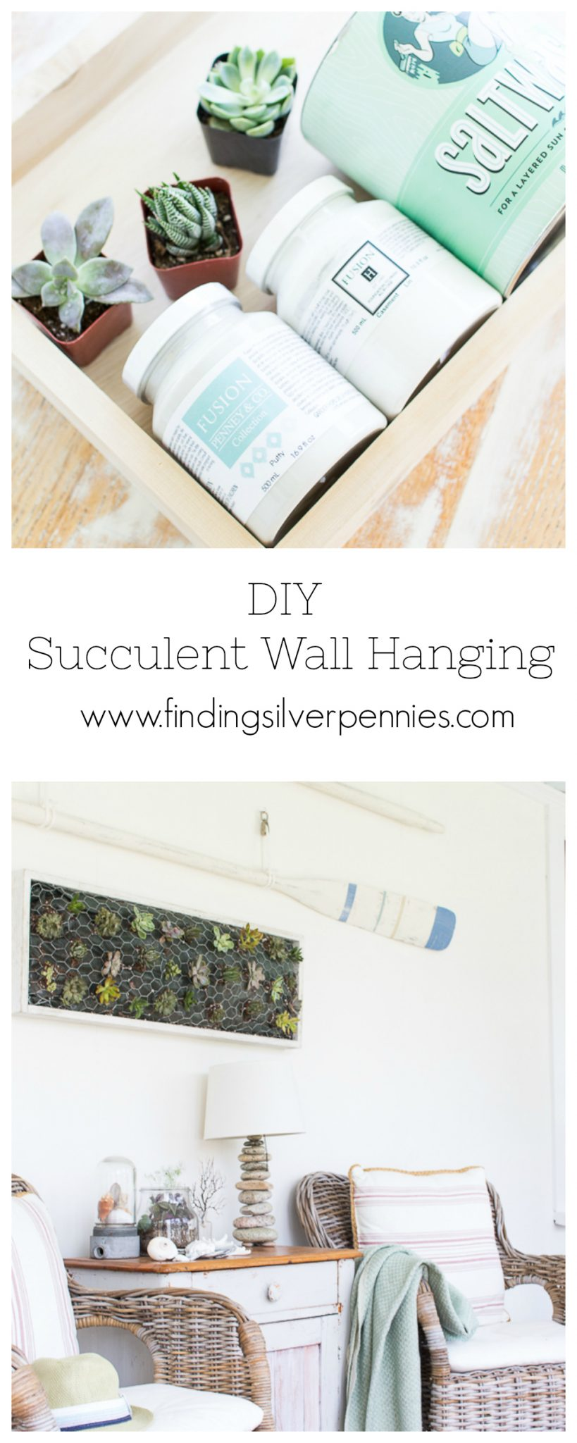 Pretty pastel colors, Saltwash Powder and succulents make for a lovely coastal inspired DIY. Learn to make your own DIY Succulent Wall Hanging!