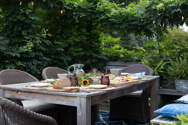 A family meal out on the deck.