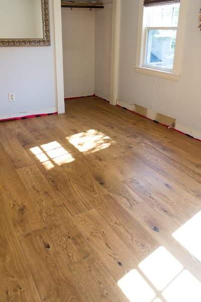 Beautiful hardwood floors in our bedroom