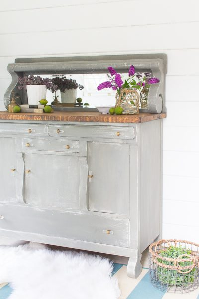 A Gray Buffet - elegant and classic with shiplap walls.