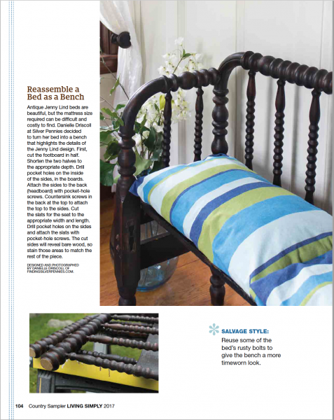 My Jenny Lind bed turned bench feature