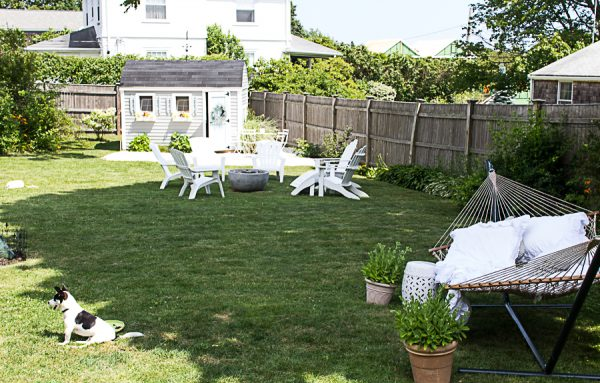 Enjoying a staycation in our yard on the New England coast