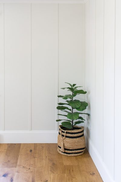 Freshly painted board and batten in Shiplap by Kilz Magnolia Home, Trim in True White