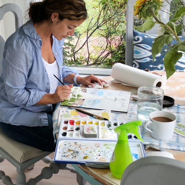 Relaxing morning painting in watercolor