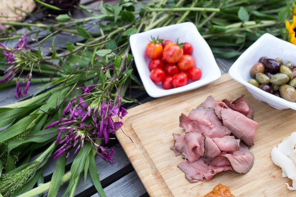 wildflowers, cold meats and fresh vegetables from the garden